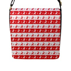 Knitted Red White Reindeers Flap Messenger Bag (l)  by patternstudio