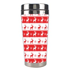 Knitted Red White Reindeers Stainless Steel Travel Tumblers by patternstudio