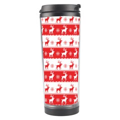 Knitted Red White Reindeers Travel Tumbler by patternstudio