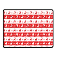 Knitted Red White Reindeers Double Sided Fleece Blanket (small)  by patternstudio