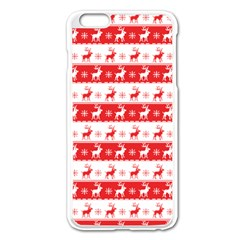 Knitted Red White Reindeers Apple Iphone 6 Plus/6s Plus Enamel White Case by patternstudio