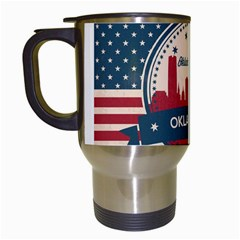 Oklahoma City Retro Skyline Travel Mug (white) by allthingseveryday