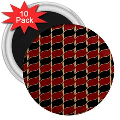 Leaves Red Black 3  Magnets (10 Pack)