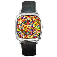 Homouflage Gay Stealth Camouflage Square Metal Watch by PodArtist