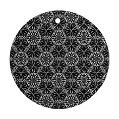 Crystals Pattern Black White Ornament (round) by Cveti