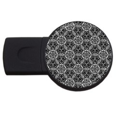 Crystals Pattern Black White Usb Flash Drive Round (2 Gb) by Cveti