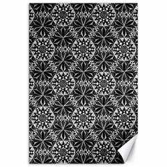 Crystals Pattern Black White Canvas 20  X 30   by Cveti