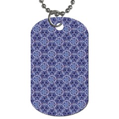Crystals Pattern Blue Dog Tag (two Sides) by Cveti