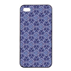 Crystals Pattern Blue Apple Iphone 4/4s Seamless Case (black) by Cveti