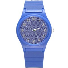 Crystals Pattern Blue Round Plastic Sport Watch (s) by Cveti