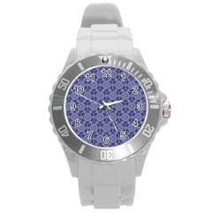 Crystals Pattern Blue Round Plastic Sport Watch (l) by Cveti