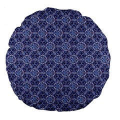 Crystals Pattern Blue Large 18  Premium Flano Round Cushions by Cveti