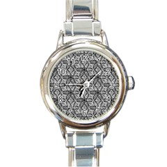 Kaleidoscope Black White Pattern Round Italian Charm Watch by Cveti