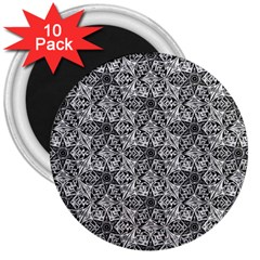 Kaleidoscope Black White Pattern 3  Magnets (10 Pack)  by Cveti