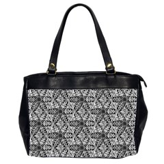 Kaleidoscope Black White Pattern Office Handbags (2 Sides)  by Cveti