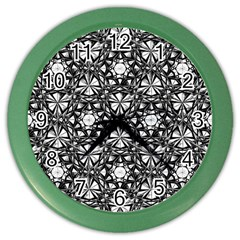 Star Crystal Black White Pattern Color Wall Clocks by Cveti