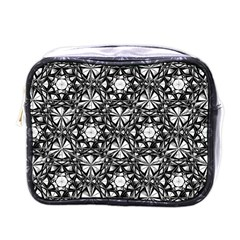 Star Crystal Black White Pattern Mini Toiletries Bags by Cveti