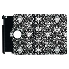Star Crystal Black White Pattern Apple Ipad 2 Flip 360 Case by Cveti
