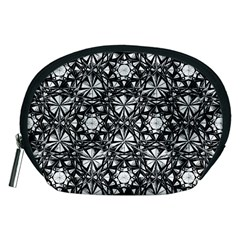 Star Crystal Black White Pattern Accessory Pouches (medium)  by Cveti