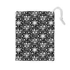 Star Crystal Black White Pattern Drawstring Pouches (large)  by Cveti