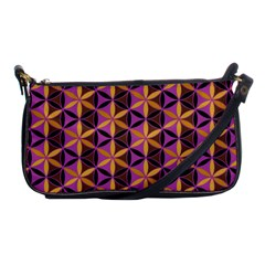 Flower Of Life Purple Gold Shoulder Clutch Bags by Cveti