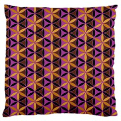 Flower Of Life Purple Gold Large Flano Cushion Case (two Sides) by Cveti