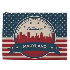 Retro Baltimore Maryland Skyline Cosmetic Bag (xxl)  by allthingseveryday