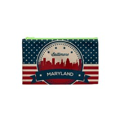Retro Baltimore Maryland Skyline Cosmetic Bag (xs) by allthingseveryday