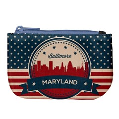 Retro Baltimore Maryland Skyline Large Coin Purse by allthingseveryday