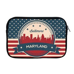 Retro Baltimore Maryland Skyline Apple Macbook Pro 17  Zipper Case by allthingseveryday