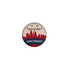Retro Cincinnati Ohio Skyline 1  Mini Buttons by allthingseveryday