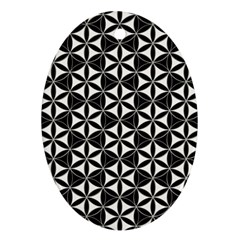 Flower Of Life Pattern Black White Oval Ornament (two Sides) by Cveti