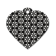 Flower Of Life Pattern Black White Dog Tag Heart (two Sides) by Cveti