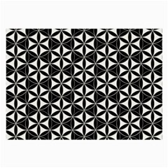 Flower Of Life Pattern Black White Large Glasses Cloth (2 Side) by Cveti