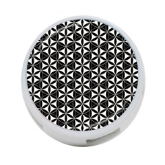 Flower Of Life Pattern Black White 4 Port Usb Hub (one Side) by Cveti