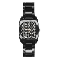 Flower Of Life Pattern Black White Stainless Steel Barrel Watch by Cveti