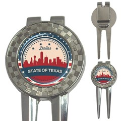 Retro Dallas Texas Skyline 3 In 1 Golf Divots by allthingseveryday