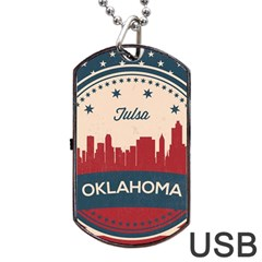 Tulsa Oklahoma Retro Skyline Dog Tag Usb Flash (one Side) by allthingseveryday