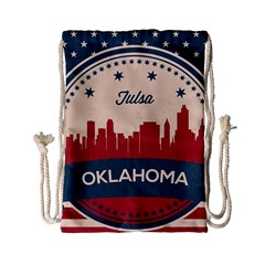 Tulsa Oklahoma Retro Skyline Drawstring Bag (small) by allthingseveryday