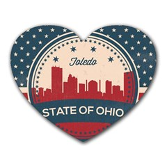 Retro Toledo Skyline Heart Mousepads by allthingseveryday