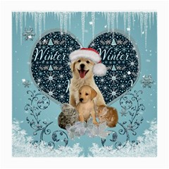 It s Winter And Christmas Time, Cute Kitten And Dogs Medium Glasses Cloth (2 Side) by FantasyWorld7