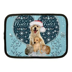 It s Winter And Christmas Time, Cute Kitten And Dogs Netbook Case (medium)  by FantasyWorld7