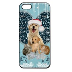 It s Winter And Christmas Time, Cute Kitten And Dogs Apple Iphone 5 Seamless Case (black) by FantasyWorld7