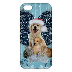 It s Winter And Christmas Time, Cute Kitten And Dogs Apple Iphone 5 Premium Hardshell Case by FantasyWorld7