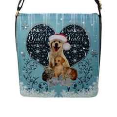 It s Winter And Christmas Time, Cute Kitten And Dogs Flap Messenger Bag (l)  by FantasyWorld7