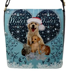 It s Winter And Christmas Time, Cute Kitten And Dogs Flap Messenger Bag (s) by FantasyWorld7