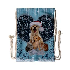 It s Winter And Christmas Time, Cute Kitten And Dogs Drawstring Bag (small) by FantasyWorld7