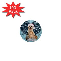 It s Winter And Christmas Time, Cute Kitten And Dogs 1  Mini Magnets (100 Pack)  by FantasyWorld7