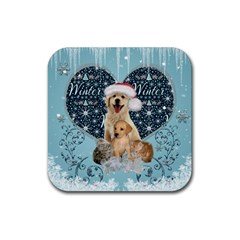 It s Winter And Christmas Time, Cute Kitten And Dogs Rubber Square Coaster (4 Pack)  by FantasyWorld7
