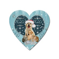 It s Winter And Christmas Time, Cute Kitten And Dogs Heart Magnet by FantasyWorld7